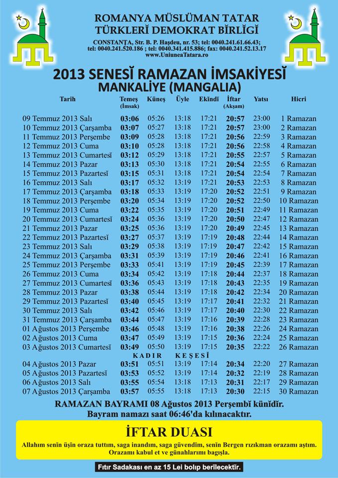 UDTTMR - IMSAKIYE 2013 - Mangalia