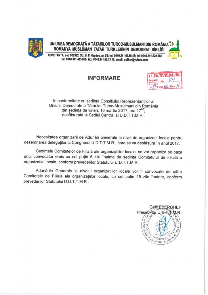 UDTTMR - Informare - 11.03.2017